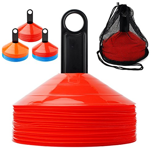 Ranphykx Disc Cones (Set of 50) Agility Soccer Cones with Carry Bag and Holder for Training, Football, Kids, Sports, Field Cone Markers ()