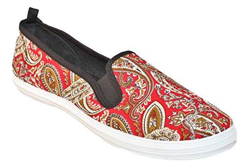 Promenez-vous De La Mode Des Femmes Slip-on Chaussure Rouge Paisley