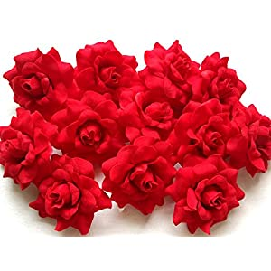 "(50) Silk Light Red Roses Flower Head - 1.75"" - Artificial Flowers Heads Fabric Floral Supplies Wholesale Lot for Wedding Flowers Accessories Make Bridal Hair Clips Headbands Dress 4"
