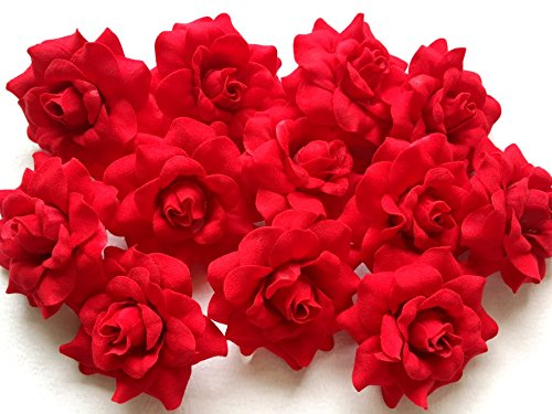 (50) Silk Light Red Roses Flower Head - 1.75