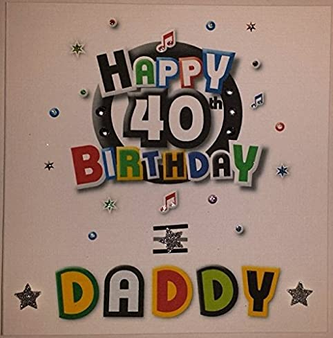 Amazon happy birthday card daddy funky 40th birthday happy birthday card daddy funky 40th birthday handmade card by handmade cards by veronica bookmarktalkfo