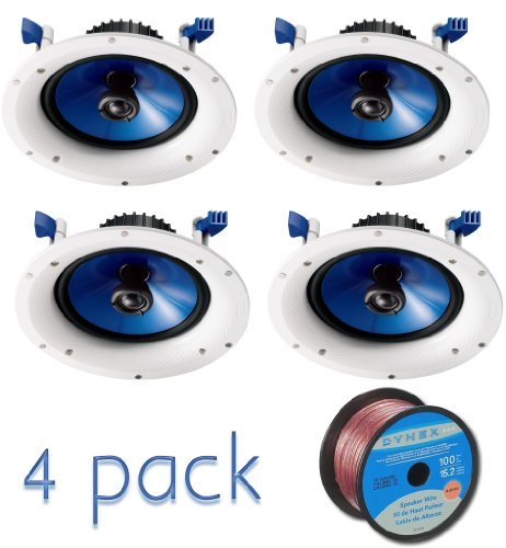 Yamaha Custom Easy-to-install In-Ceiling 2-Way 110 watts Moisture Resistant Speaker Set of 4 with a 6.5