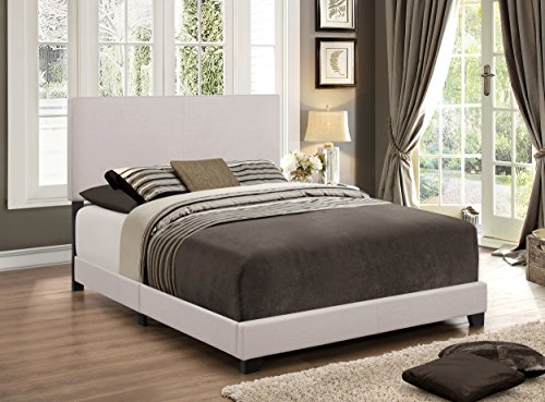 (Crown Mark Upholstered Panel Bed in Stone Khaki, Full)