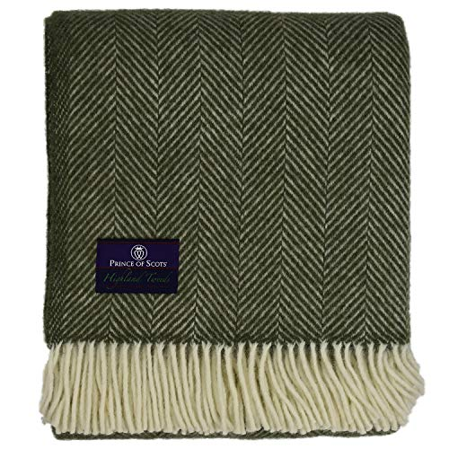 (Prince of Scots Highland Tweed Herringbone 100% Pure New Wool Throw (Evergreen))