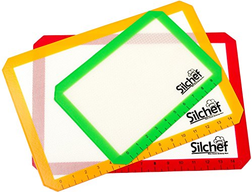 Silicone 3 Piece Non Stick Baking Mats with Measurements 2 Half Sheet Liners and 1 Quarter Sheet Mat, Professional Quality, Non Toxic and FDA Approved, Red, Yellow and Green