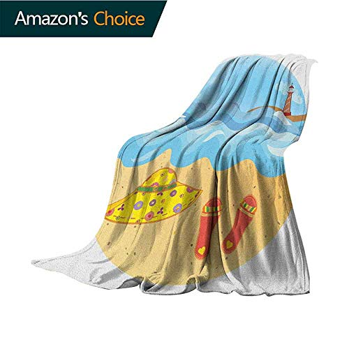 (Lighthouse Weighted Blanket for Kids,Colorful Minimal Doodle Lighthouse Beach Sea Waves Sand Hat Slippers Cloudy Day for Bed & Couch Sofa Easy Care,50
