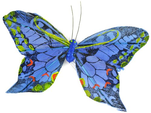Touch of Nature 23006 Feather Butterfly, 4-1/4-Inch, Yellow/Black/Blue