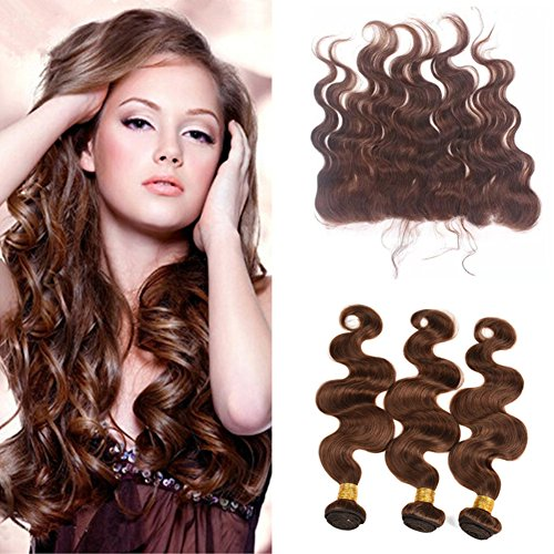 Ruma Hair Chocolate Brown Mink Brazilian Body Wave Wavy Virgin Human Hair 3 Bundles With Color #4 Medium Brown 134 Ear To Ear Full Lace Frontal Closure 4Pcs Lot (10 with 12 12 12)