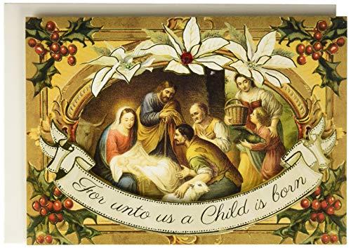Punch Studio Frame Nativity Scene Dimensional Greeting Cards - Set of 12 (43361)