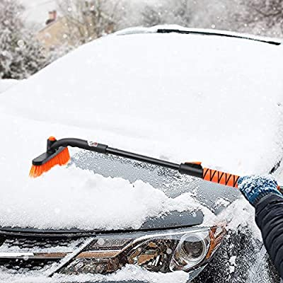 MATCC Car Snow Brush Removal Extendable with Ice Scraper and Foam Grip Detachable Snow Mover for Car Auto SUV Truck Windshield Windows: Automotive