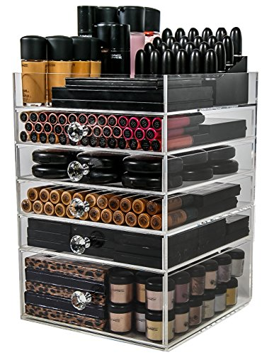 N2 Makeup Co Acrylic Makeup Organizer Cube | 5 Drawers Storage Box for Vanity Tables