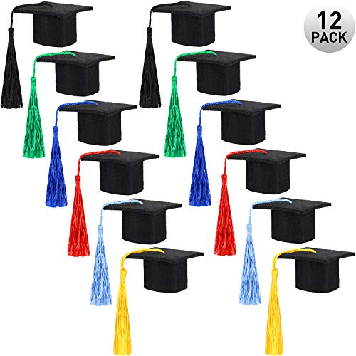 12 Pieces Mini Graduation Hat Black Felt Graduation Cap Hat Graduation Caps with Colorful Tassels for Graduation Party Drinker Bottle Topper Table Decoration