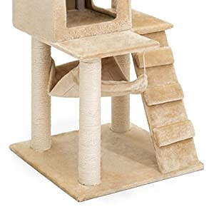 Best Choice Products 52in Faux Fur Cat Tree Tower Furniture w/ Condo, Hammock, Scratching Posts, and Tunnel for Small Cats and Kittens - Brown