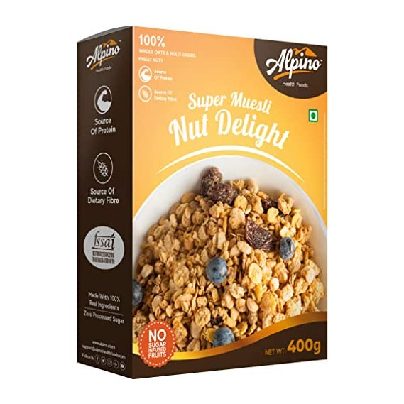 Alpino Super Muesli Nut Delight 400 G | 100% Whole Oats & Whole Grain | Finest Nuts & Raisins | Real Freeze-Dried Fruits | No Sugar Infused Fruits