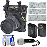DiCAPac WP-S5 Waterproof Case for Compact DSLR Cameras with PT-LPE17 Battery & Charger + LED Torch + Kit for Canon Rebel SL2, T6s, T6i, T7i, M5
