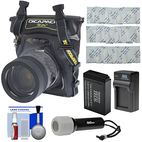 DiCAPac WP-S5 Waterproof Case for Compact DSLR Cameras with PT-LPE17 Battery & Charger + LED Torch + Kit for Canon Rebel SL2, T6s, T6i, T7i, M5 (Dicapac Waterproof Dslr Camera Case Wp S10)