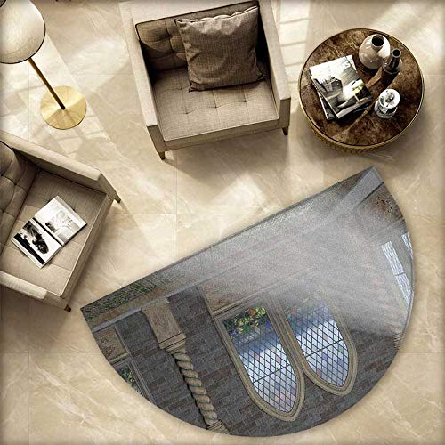 oor mats Crepuscular Rays Streaming Through Stained Glass Window Ancient Palace Castle Bathroom Mat H 59