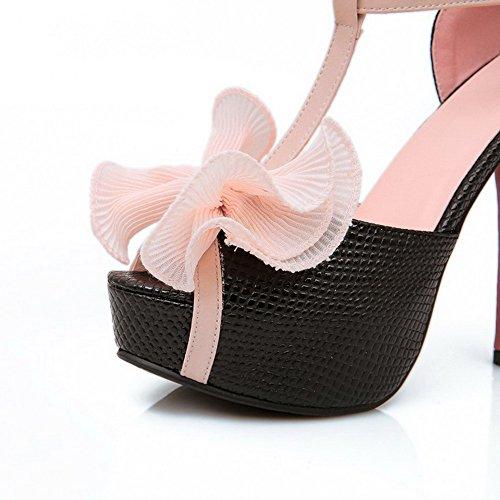 AgooLar Women's Spikes Stilettos Assorted Color Buckle Peep Toe Sandals Black 2I64y