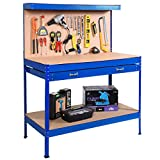 Work Bench Tool Storage Steel Frame Workshop Table W/ Drawer & Peg Board Blue