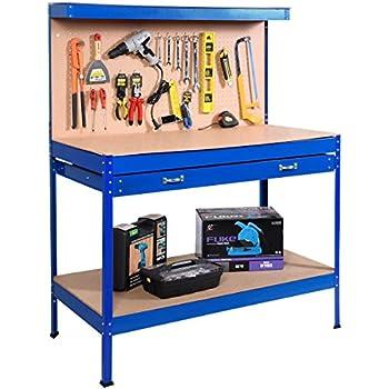 Blue Table Workshop Steel Tool Garage Storage Bench
