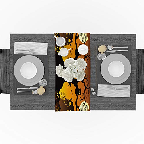 Cotton Linen Table Runner for Party, Halloween Tree Pumpkin Lantern Castle Runners Party Supplies Home Decorations for Kitchen Dining Room Wedding Birthday Decoration & Everyday Use, 16 x 72 inches -