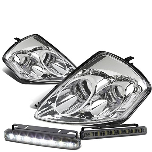 For Mitsubishi Eclipse 3G Chrome Housing Dual Halo Projector LED Headlight+Smoked DRL 8 LED Fog Light