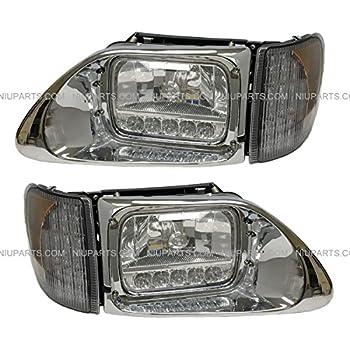 Amazon com: Headlight Reflector High/Low Beam LED with Bezel Chrome