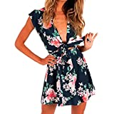 Mikkar Women Sexy Siamese Jumpsuit Deep-V Bandage Playsuit Floral Print Pullover