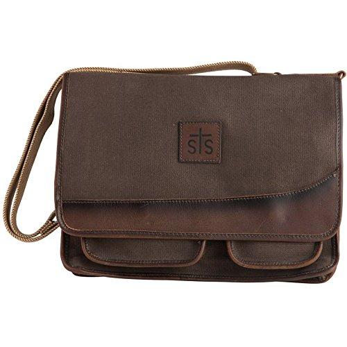 STS Ranchwear Men's The Foreman Messenger Dark Khaki Canvas/Leather One Size