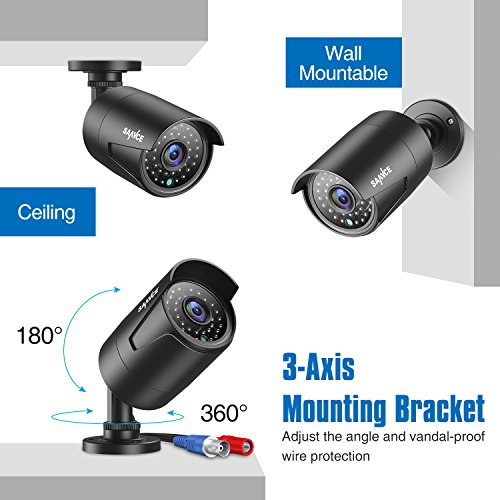 SANNCE Security Camera System Kits 1080P FHD AHD Indoor Outdoor Night Vision Bullet Camera