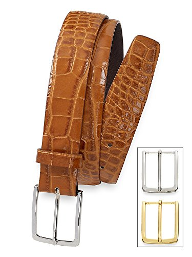 Paul Fredrick Men's Italian Crocodile Embossed Leather Belt Camel 34