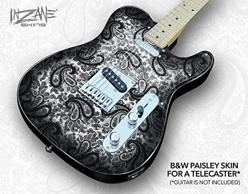 PAISLEY BLACK & WHITE 1 - Tele Guitar Skin from INZANE Skins (Black Skin Guitar)