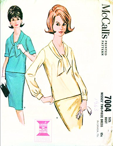 McCall's 7004 Vintage Misses Two Piece Dress Slim Skirt Sewing Pattern, Check listing for (60s 2 Piece Dress)