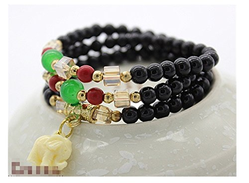 - Bear boys Imitation Agate Imitation Garnet Crystal root multi-turn Bracelet Elephant India Princess Accessories Hand necklace Jewelry (Black)