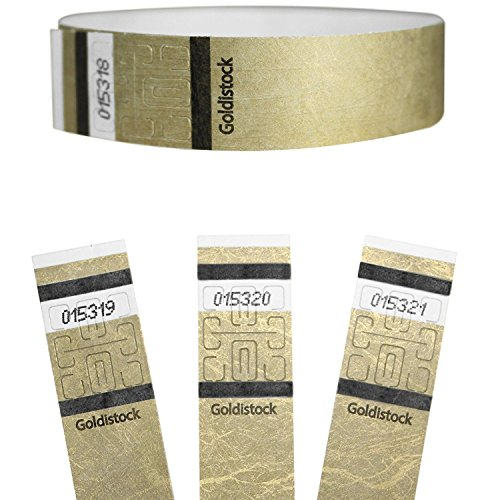 "Goldistock Select Series - 3/4"" Tyvek Wristbands Metallic Gold 200 Count"