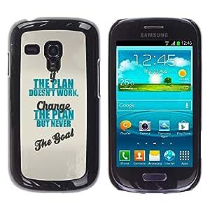 Plan de meta de trabajo Cambio Inspiring Azul- Metal de aluminio y de plástico duro Caja del teléfono - Negro - Samsung Galaxy S3 MINI i8190 (NOT S3)