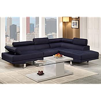 Poundex Navy Blue Linen Fabric Modern Sectional Sofa
