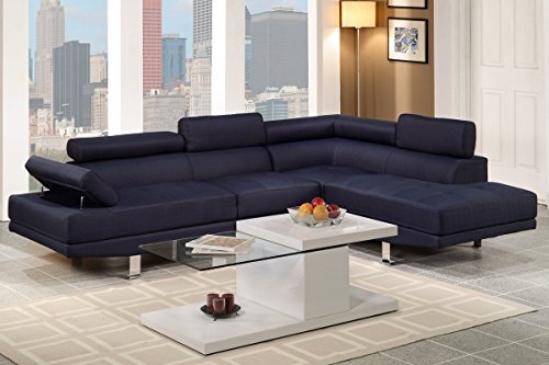 Poundex F7569 Navy Blue Linen Fabric Modern Sectional Sofa Review