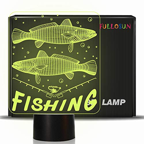 - FULLOSUN 3D Illusion Lamp Fishing Decoration Night Light Big Fish Visual 7 Color Changing Bedside Lamp for Fishing Lover Gifts