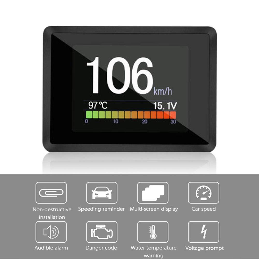 pantalla de subida de cabezales OBD//OBD2 indicador de temperatura OBD consumo de combustible LayOPO OBD//OBD2 medidor digital inteligente voltaje veloc/ímetro digital Hud temperatura del agua