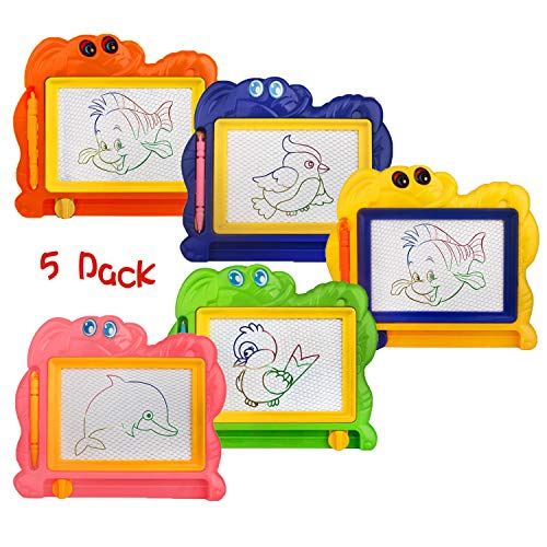 (5 Piece Mini Magnetic Drawing Board for Kids - Travel Size Erasable Doodle Board Set - Small Drawing Painting Sketch Pad - Perfect for Kids Art Supplies & Party Favors,Prizes for Kids Classroom)
