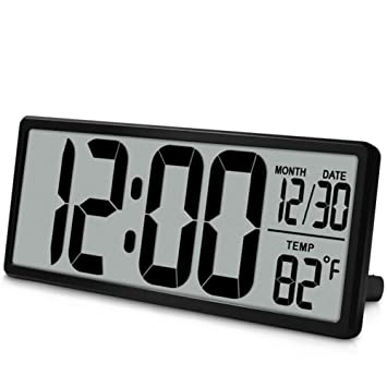 ... Visión Reloj De Pared Digital, Jumbo Despertador, Pantalla LCD Alarma Snooze Calendario Interior Temperatura Oficina Decoración,Black: Amazon.es: Hogar