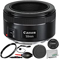 Canon EF 50mm f/1.8 STM Lens 8PC Accessory Bundle – Includes Manufacturer Accessories + UV Filter + Lens Cap Keeper + MORE – International Version (No Warranty)