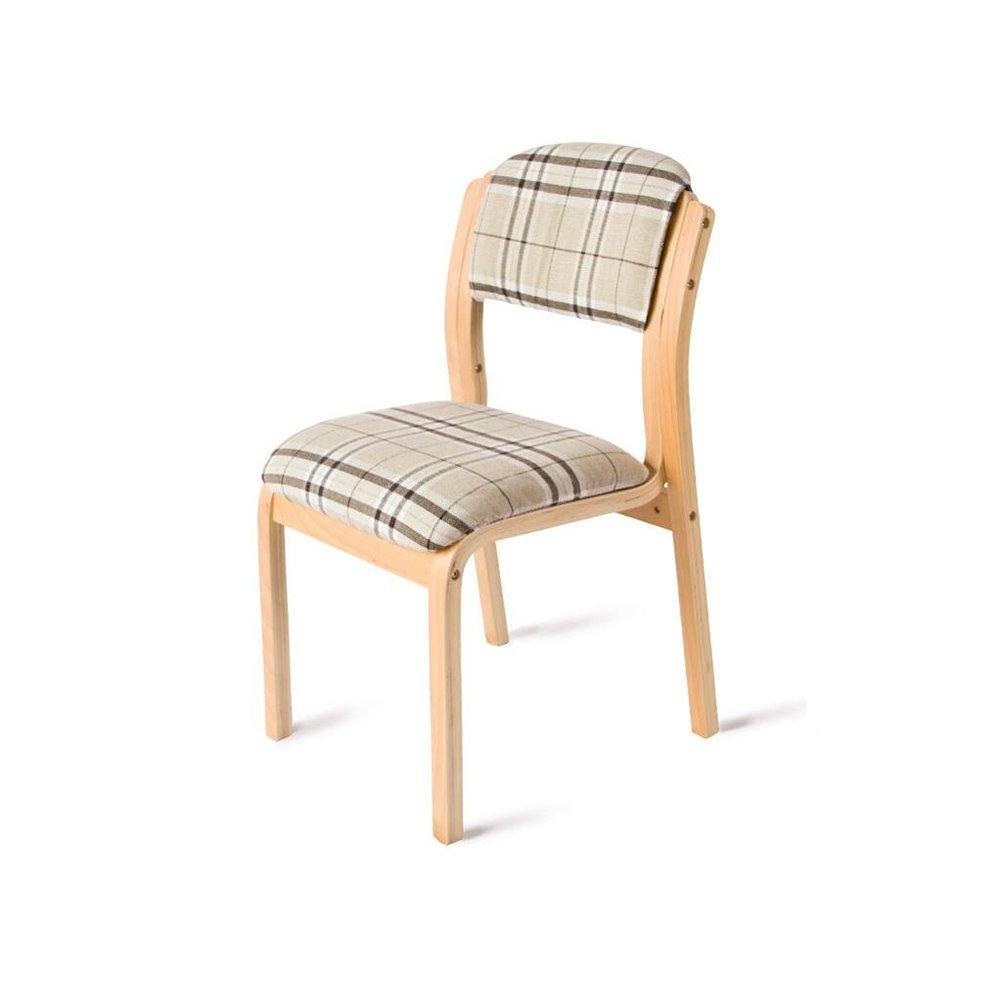DALL ダイニングチェア JY 069ソリッドウッドチェアフレーム クリエイティブなストライプ 格子 組み立てることができます リムーバブル ウォッシュ 背もたれレジャー木製椅子 (色 : 1) B07DCP4JGK 1 1