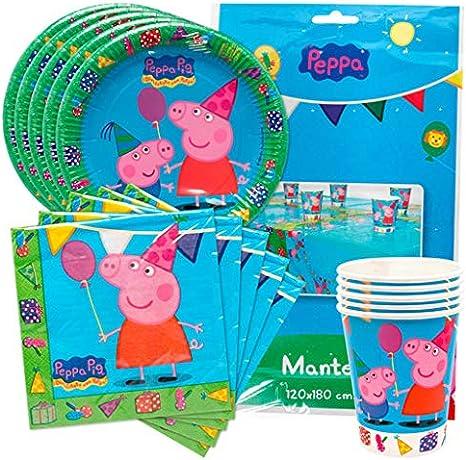 KP Peppa Pig Pack Platos, Vasos, servilletas y Mantel de Fiesta de cumpleaños para 16 niñas/os.: Amazon.es: Juguetes y juegos