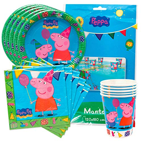 KP Peppa Pig Pack Platos, Vasos, servilletas y Mantel de ...