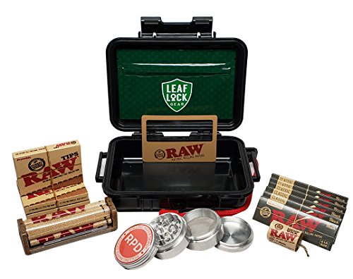 RAW Black Rolling Papers 1 1/4 (6 Packs), Pre Rolled Tips (3 Packs), Roller, Hemp Wick, Magnifier Card with RPD Grinder, Leaf Lock Gear Airtight Carrying Case and Smell Proof Pouch - Bundle - 15 Items (Smoke Weed Backpack)