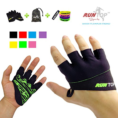 RUNTOP Workout Gloves Weight Lifting Grips with Silicon Padding by Exercise Gloves Perfect for Women Men Crossfit Training WODS Weightlifting Bodybuilding Powerlifting Gym Fitness