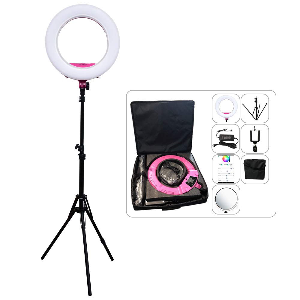 Yidoblo Ring Light Kit:18''/48cm Outer 48W 2800K-9900K Dimmable LED Ring Light, Light Stand, Carrying Bag for Camera,Smartphone,YouTube,Self-Portrait Shooting (D Rose red Kit) by yidoblo