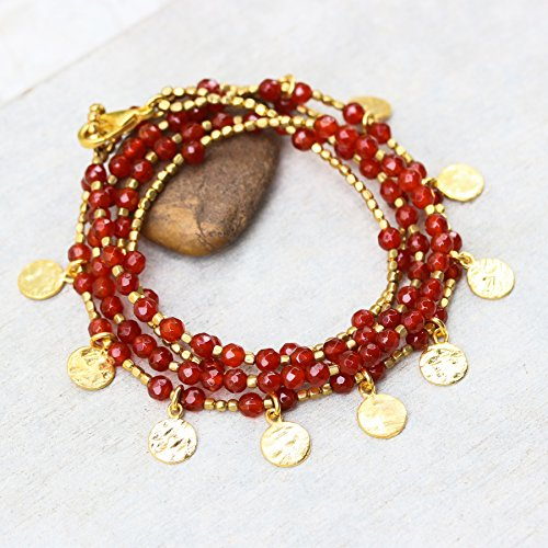 - Carnelian faceted beads wrap bracelet with gold 22k plated on brass beads and texture disc decoration